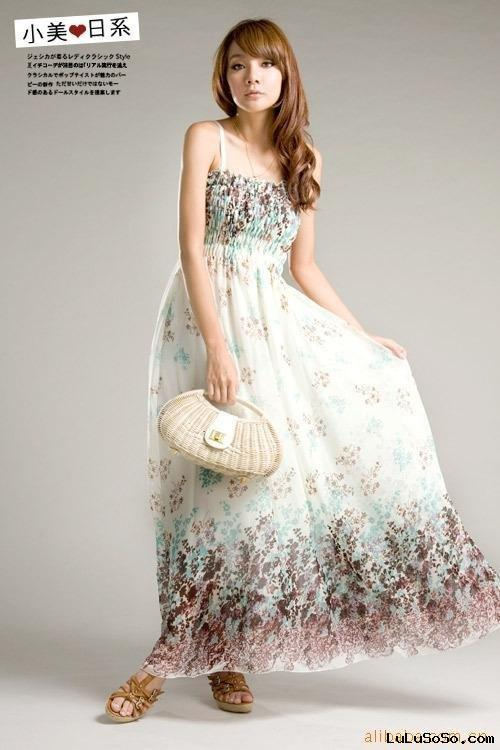 Wholesale Summmer wears Fashion jean Korea/Japan Fashion Bohemian Style Long Dress F24