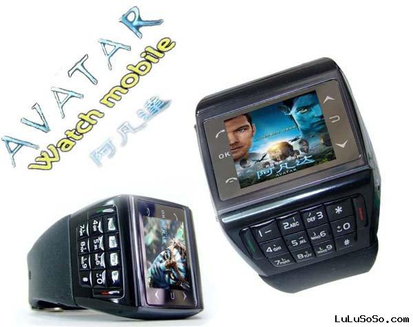 AVATAR Touch Screen Watch Cell Phone with 1GB TF Card Bluetooth Headset Quad Band