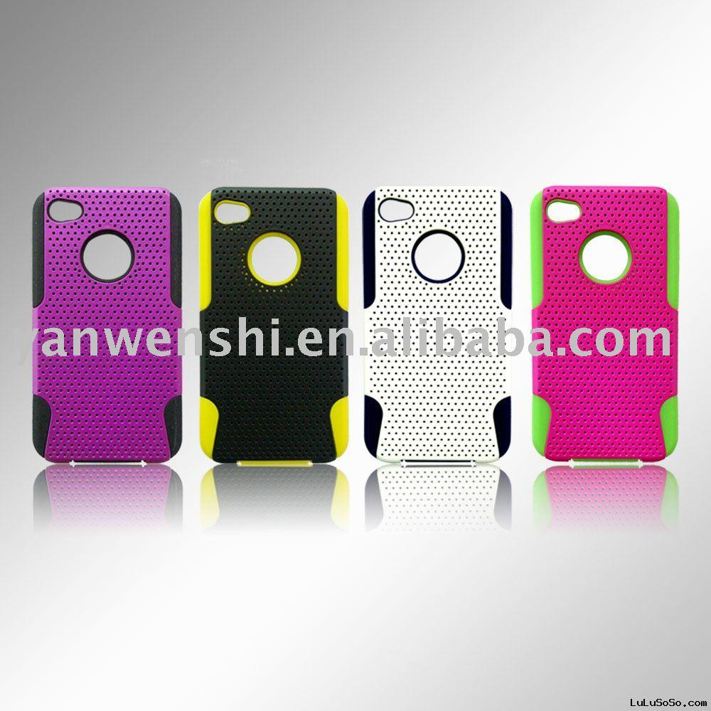 For Iphone 4 Verizon Hybrid Mesh Case  (Combined by Silicone case and mesh cover)