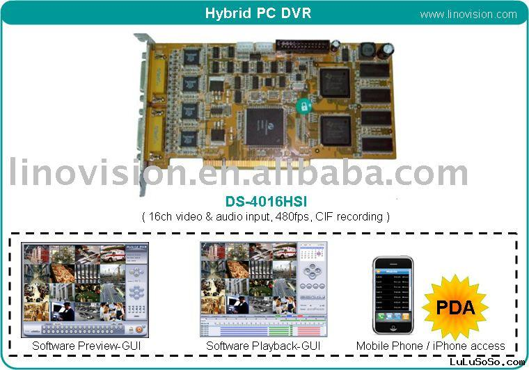 16ch H.264 PC Hybrid DVR Card support iphone view - Hikvision DS-4016HSI