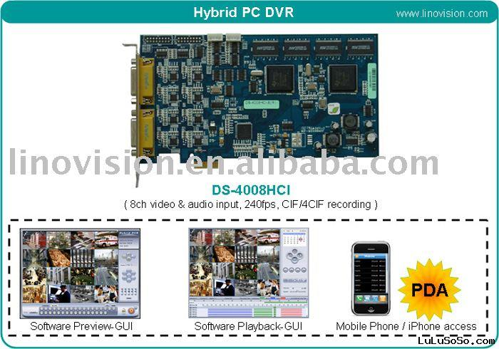 8ch H.264 DVR card with hybrid dvr software - DS-4008HCI