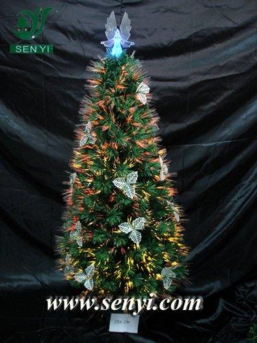 Silver Leaves Fiber Optic Christmas Tree with Angel