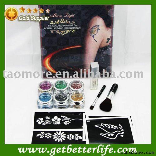 Glitter Tattoo kit 6 colors with stencils/gel/brush/ink for body art