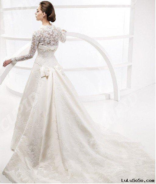 2011 new long sleeve slim A-line wedding dress bridal gowns