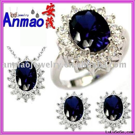 Royal Engagement Ring Necklace Earring  Jewelry Sets