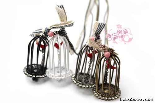 Vintage and Unique Style Bird Cage Charm / Birdcage Pendant Long Necklace