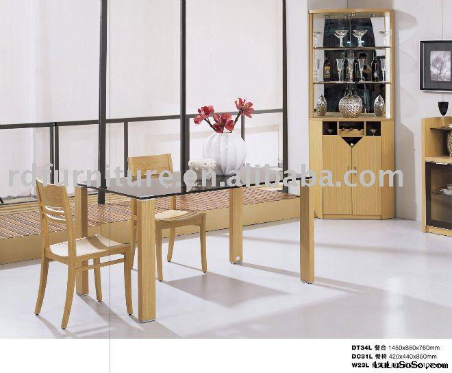 #DS1103 modern dining set in yellow oak