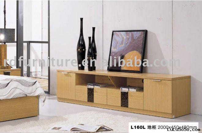 #LD160L Modern TV stand in yellow oak finish