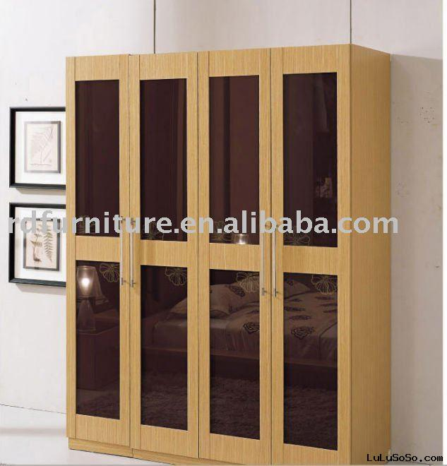 #WD1104 modern wardrobe with 4 doors in yellow oak