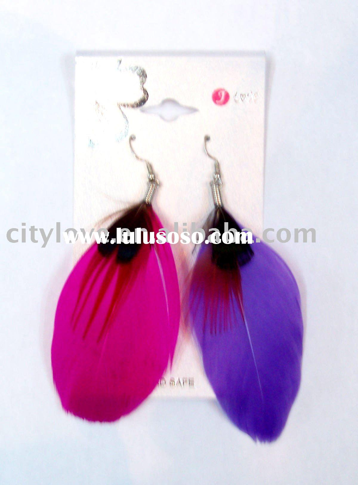 big feather fashion earrings