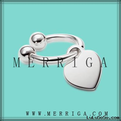 custom design jewelry  silver keychain, silver key ring with heart charm