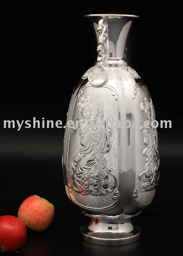 handmade silver crafts sterling silver vase for hotel deco