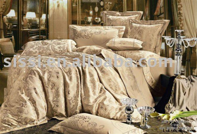 satin jacquard bedding set/100%cotton