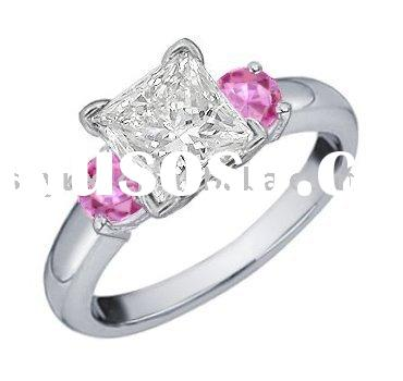 18k White Gold Diamond and Pink Sapphire Engagement Ring (.85 ct. tw.)