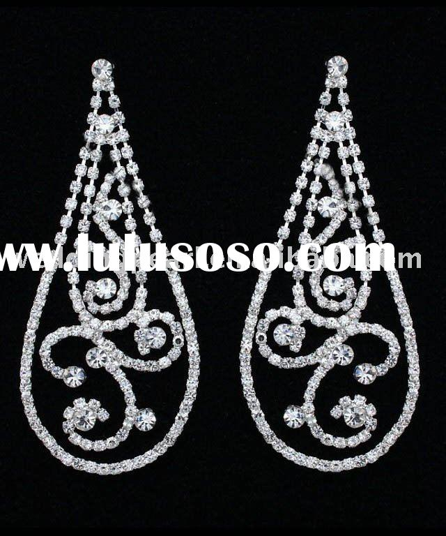 "4"" Bridal Prom Pageant Crystal Chandelier Earrings E429"