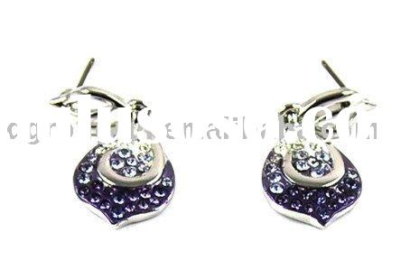 Clear & Black Crystal Earring