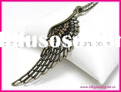 Extra large crystal angel wing necklace