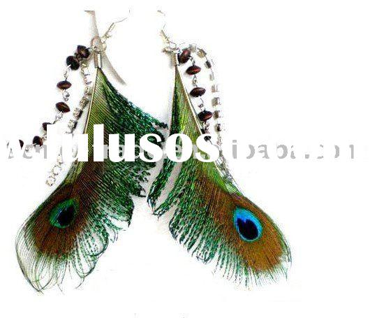 Latest peacock feather earrings