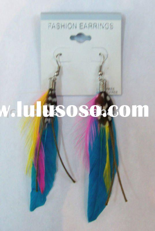 fashion colorful feather earrings