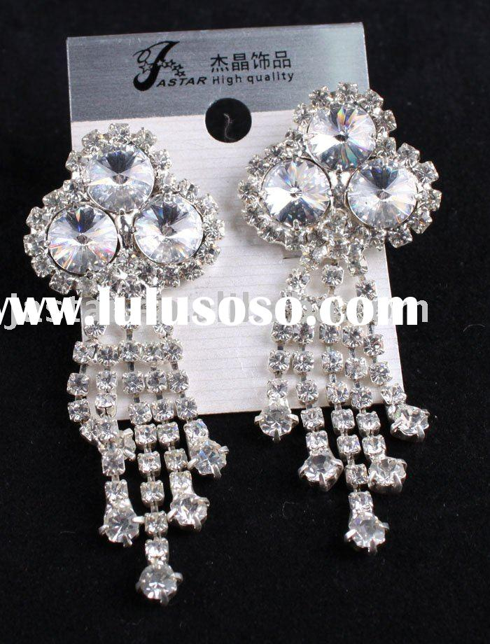 fashion wedding long crystal earring,clear stone earrings