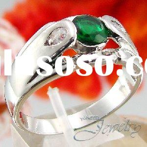Grand 6mm Green Emerald Round Cut Style Men Ring