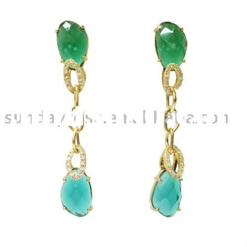 Newest Fashion Jewelry, Jolie's Emerald Gold Link Chain Earrings