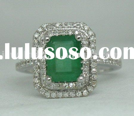 SOLID 14K White GOLD NATURAL EMERALD & DIAMOND RING