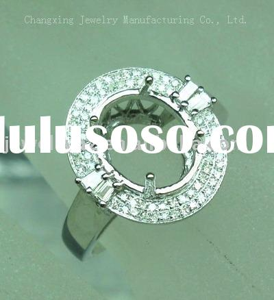 Wholesale Jewelry solid 14k white gold semi mount ring