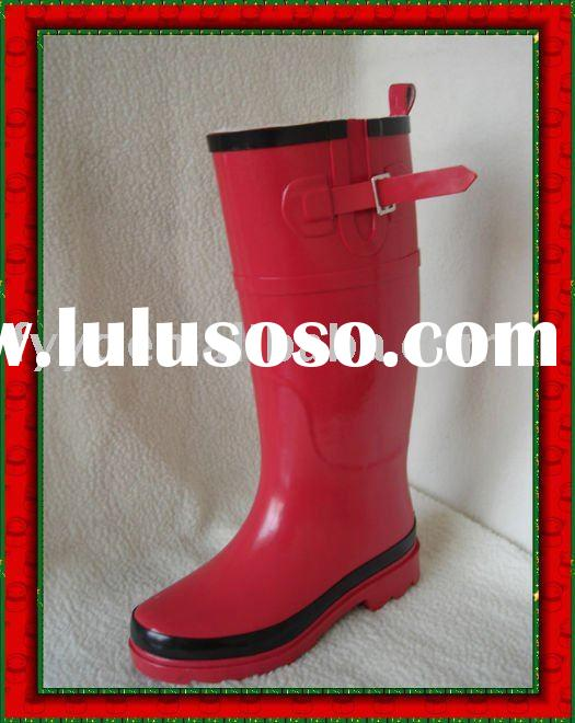 YC Lady  pure red color cheap high rain boots
