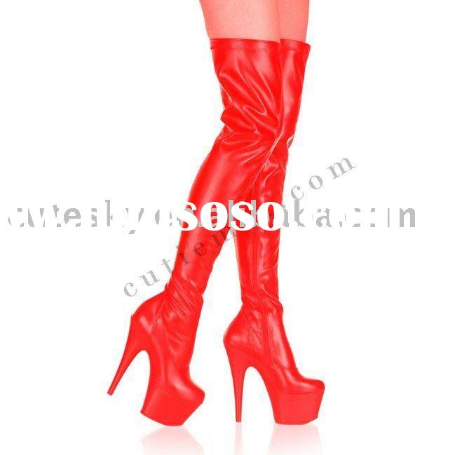 2011 hottest design Red Knee High heel boots 3406B-RC