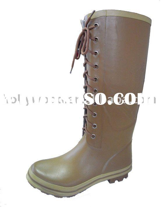 High quality Fashion Ladies Lace-up rubber rain boots