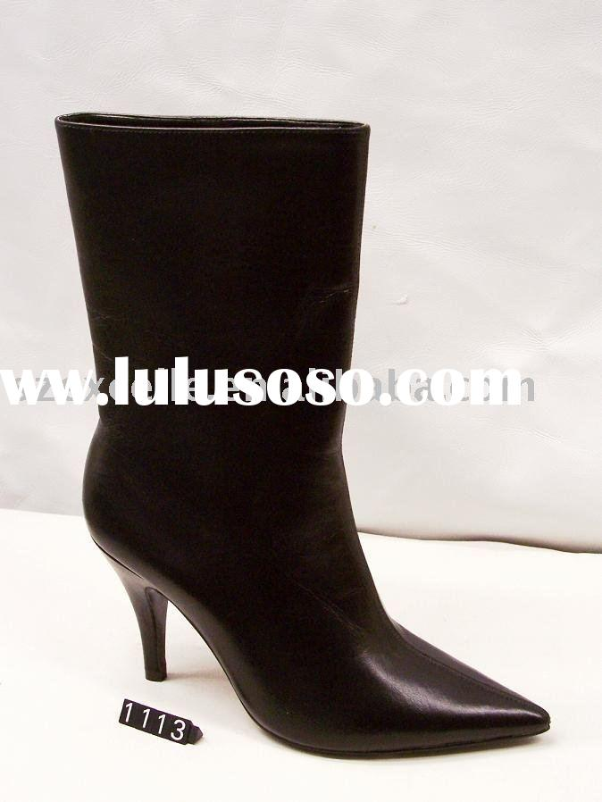 fashion lady black leather boots