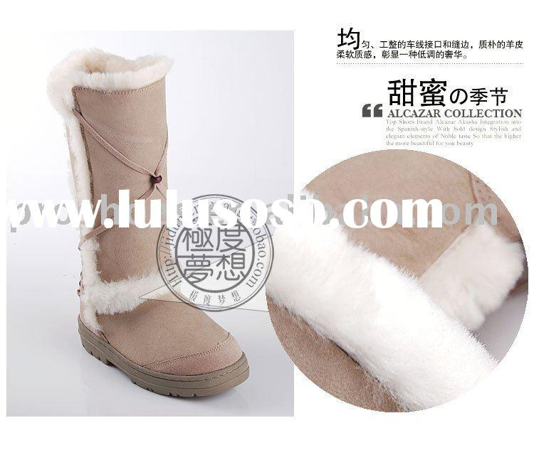 fashion women winter snow boots , twinface sheepskin lady boots