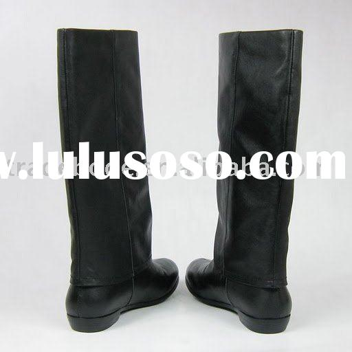 ladies winter leather flat boots black