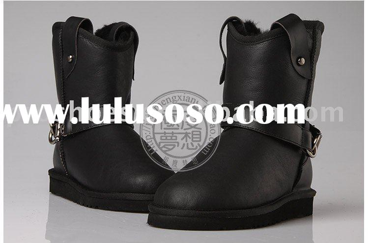 twinface sheepskin fashion black boots