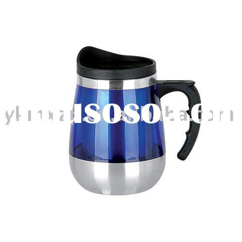 14-16 OZ. AUTO MUG WITH HANDLE  stainles steel inner plastic outside