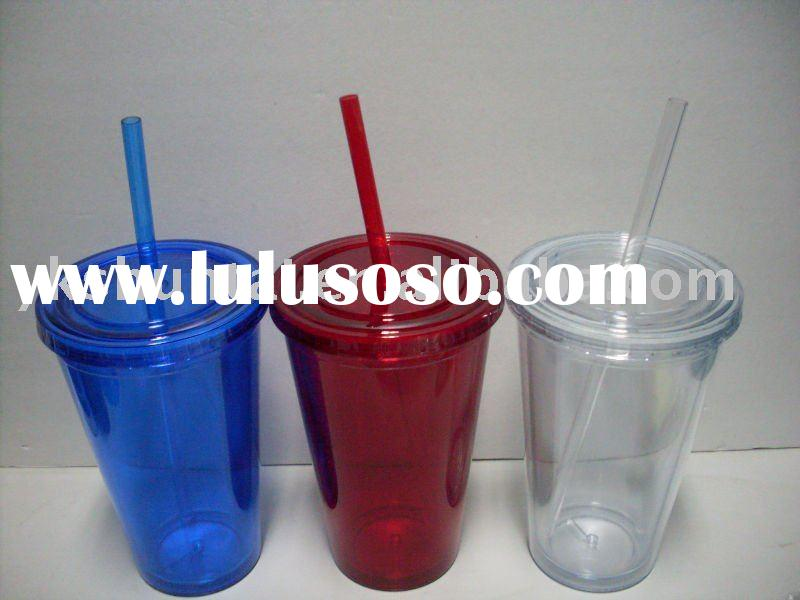 2010 new double wall plastic cup with straw