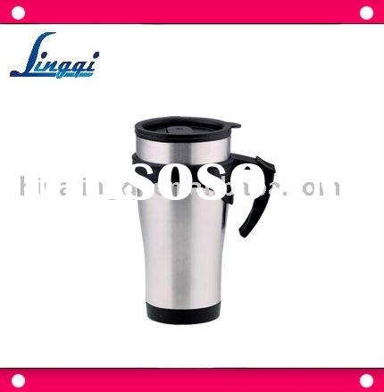 400ml promotional travel mug with handle(inner is plastic Outer is stainless steel)