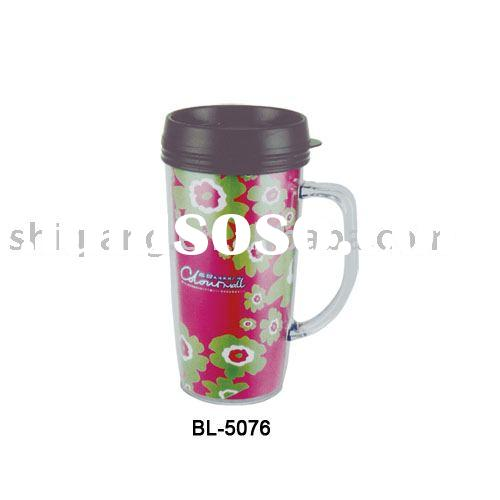 450ml double wall insulated plastic coffee mug with 4c paper insert