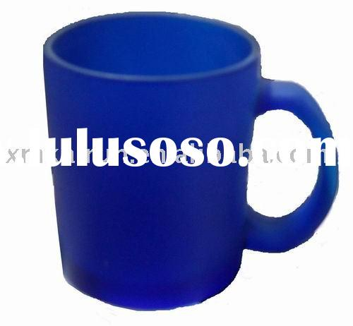 blue  frosted glass mug
