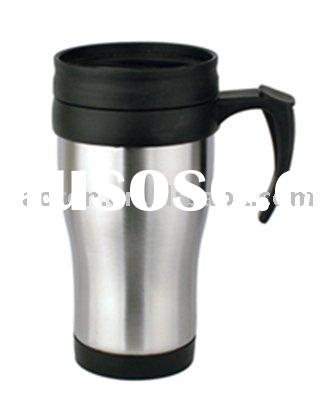 plastic travel  coffee mug with handle and lid