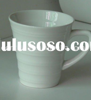 promotional white ceramic mug with special emboss