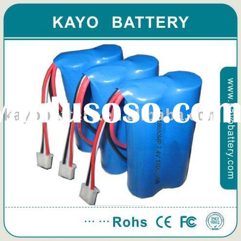 18650 Lithium Ion Battery Pack with 1800mAh 7.4V