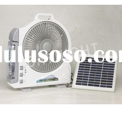 5w solar powered fan with 32pcs led rechargeable lamp & AC
