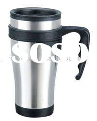 Double wall auto mug with handle and lid ,400ML