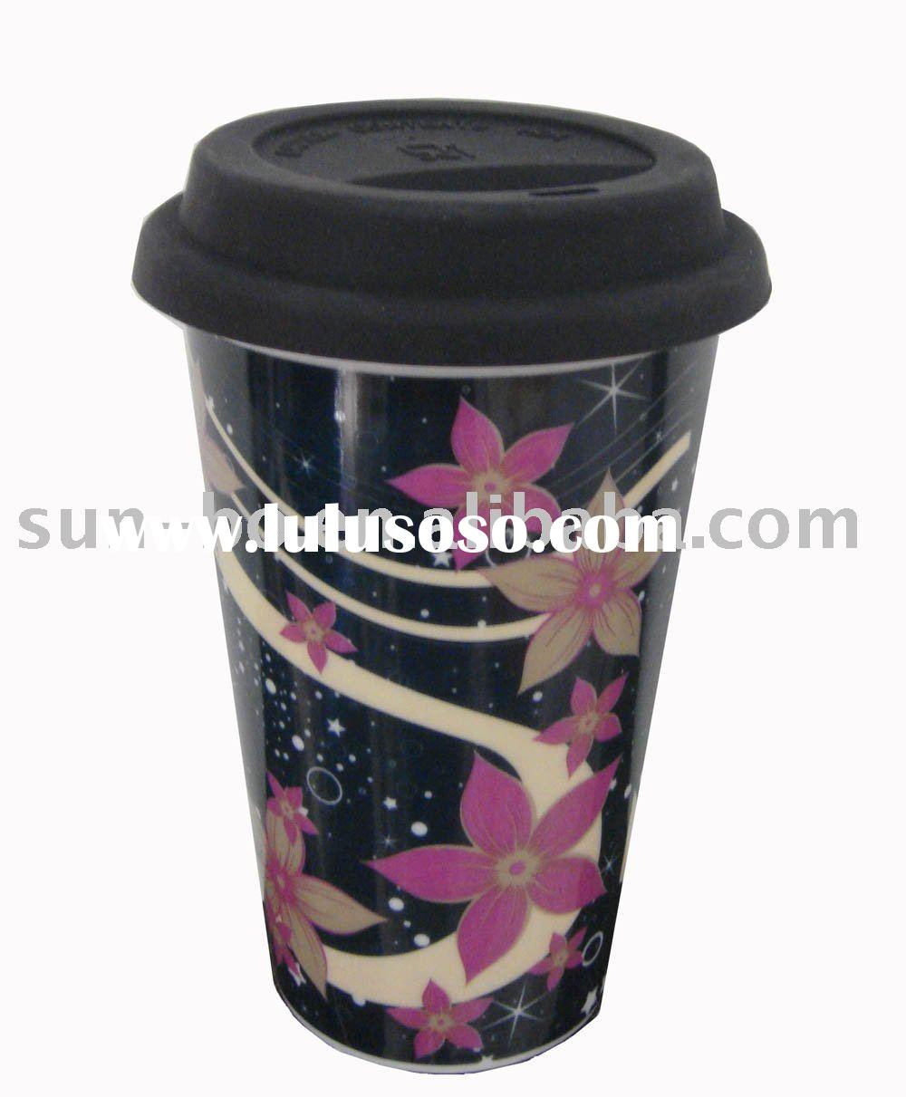 Doublewall eco cup with silicon lid and pad