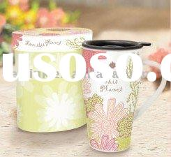 New Bone China Travel mug with lid and nice decoration