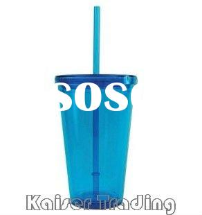 Plastic tumbler with lid and straw