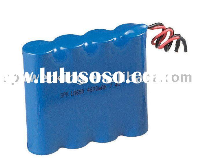 Rechargeable 7.4V Lithium Ion 18650 Battery Pack with Capacity of 4,600mAh