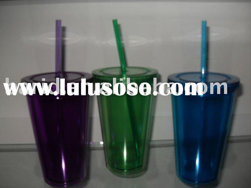 plastic color straw cup